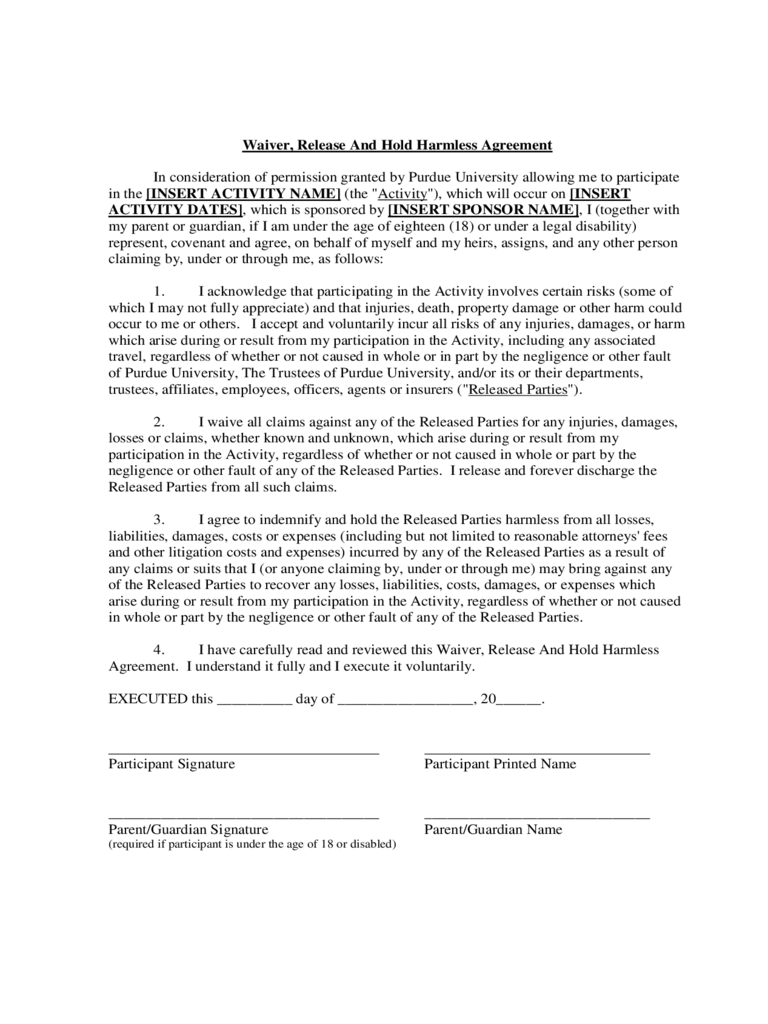 Waiver, Release And Hold Harmless Agreement