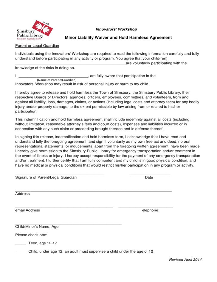 Minor Liability Waiver And Hold Harmless Agreement Free