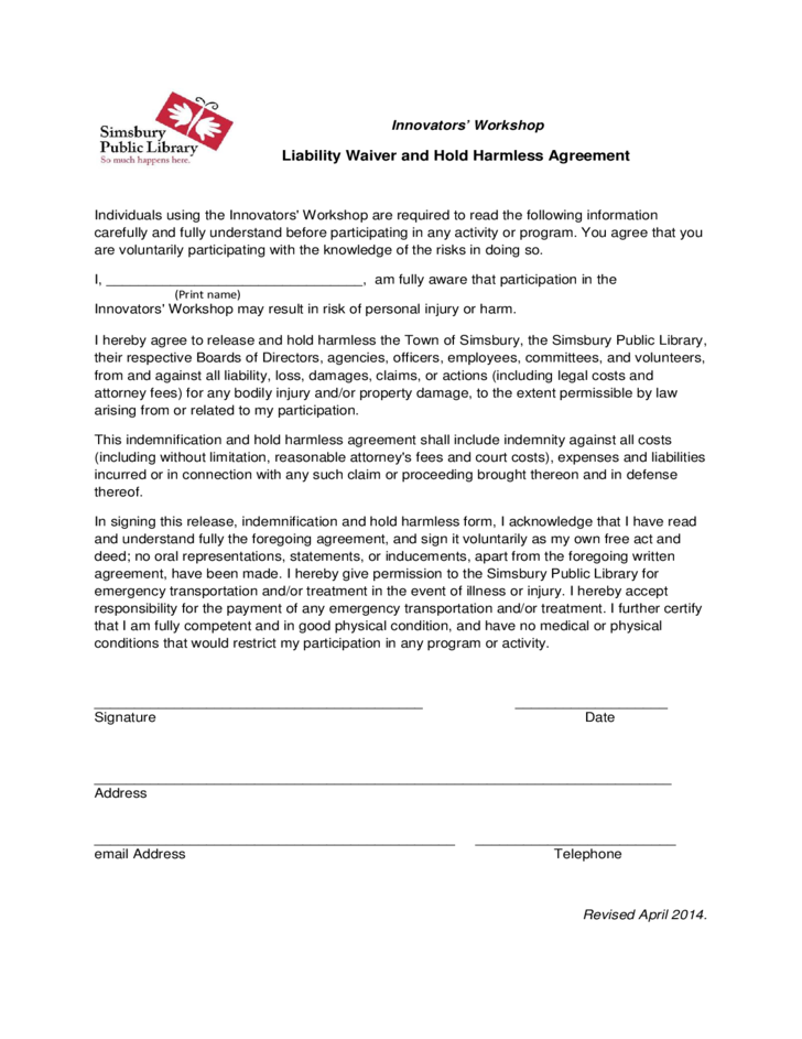 Liability Waiver And Hold Harmless Agreement Free Download