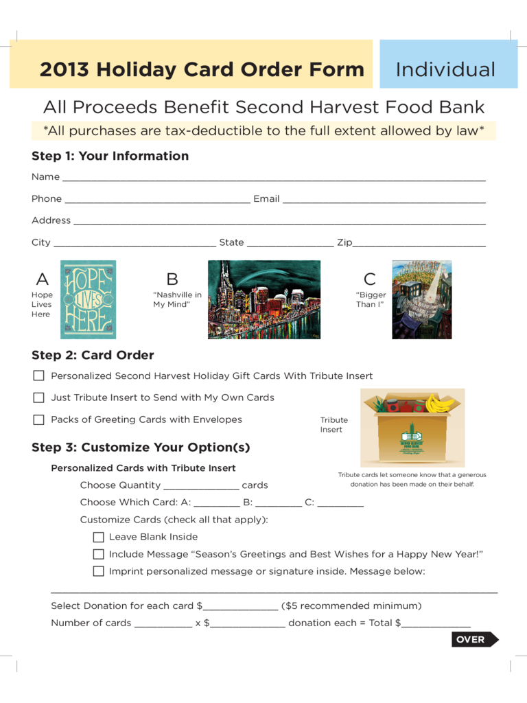 Second Harvest Holiday Card Template