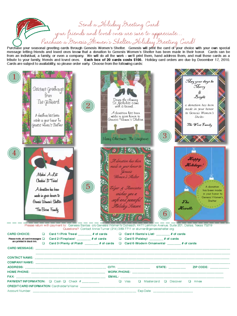Holiday Greeting Card Message Template