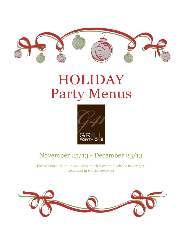 Sample Holiday Party Menu