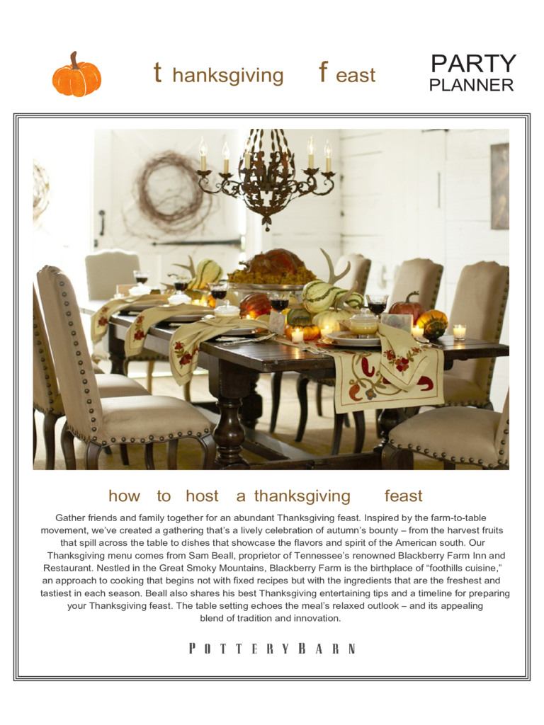 Thanksgiving Feast Menu Template Free Download