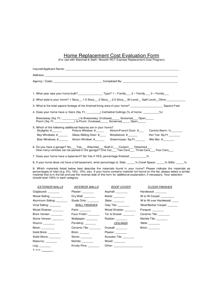 Home Replacement Cost Evaluation Form Free Download