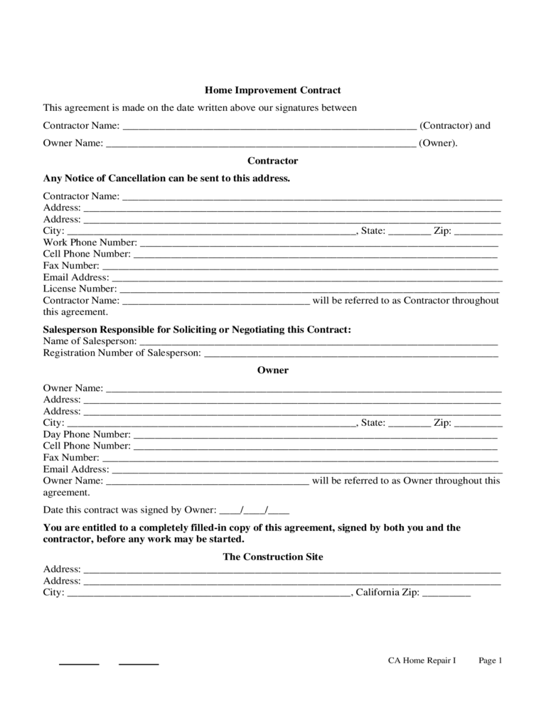 Home Improvement Contract Template - 3 Free Templates in ...