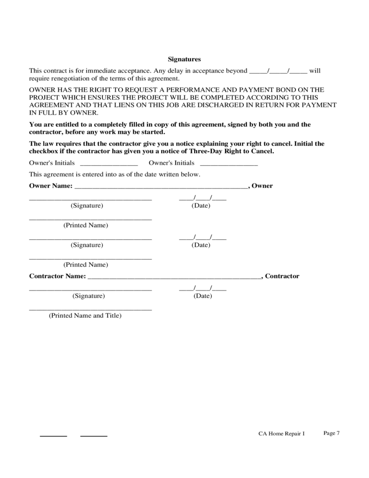 Home improvement contract form 101 prime construction for Home builder contracts