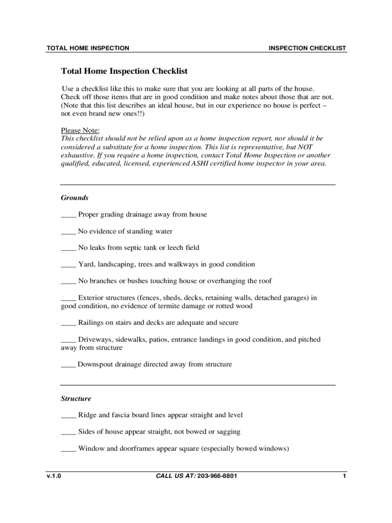 Total Home Inspection Checklist Template