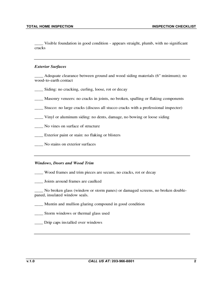 Total Home Inspection Checklist Template Free Download