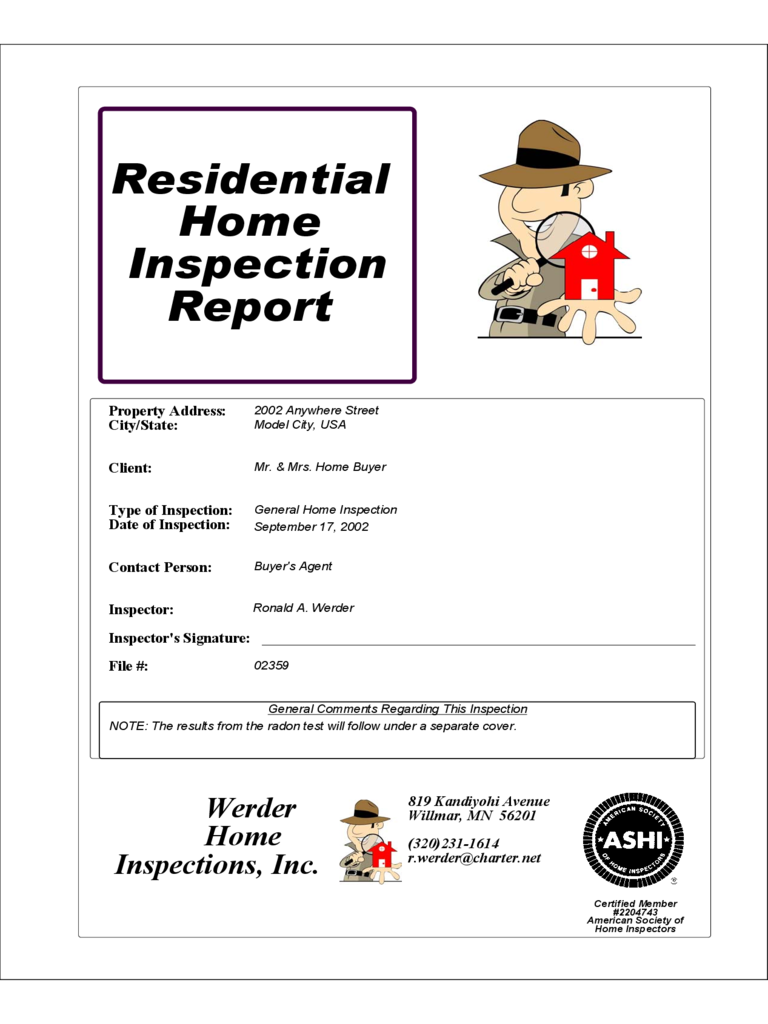 Home Inspection Results home inspection report - 3 free templates in pdf, word, excel download