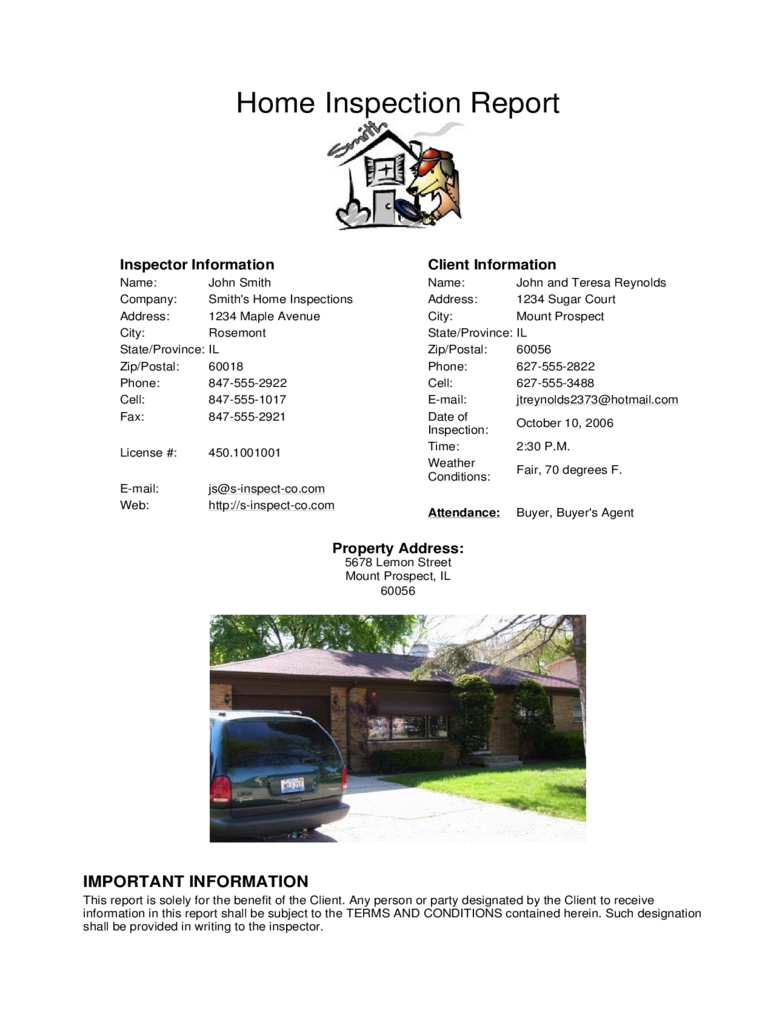 Home Inspection Sample Report with Summary