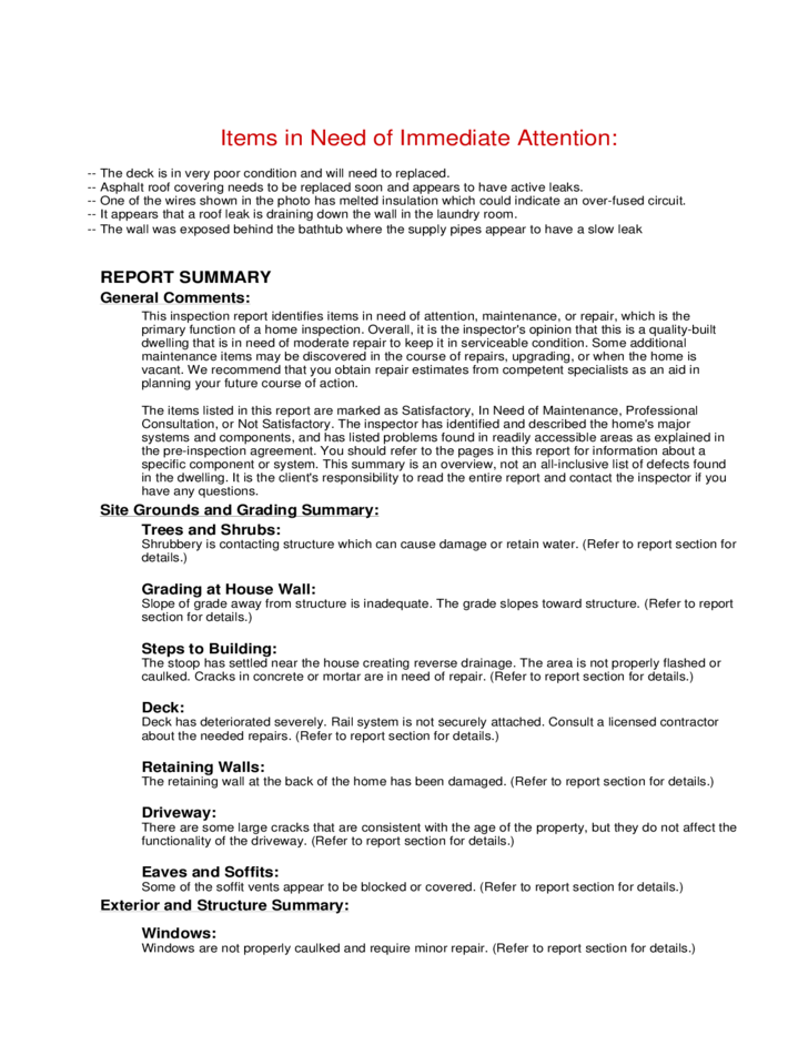 home inspection sample report with summary free download