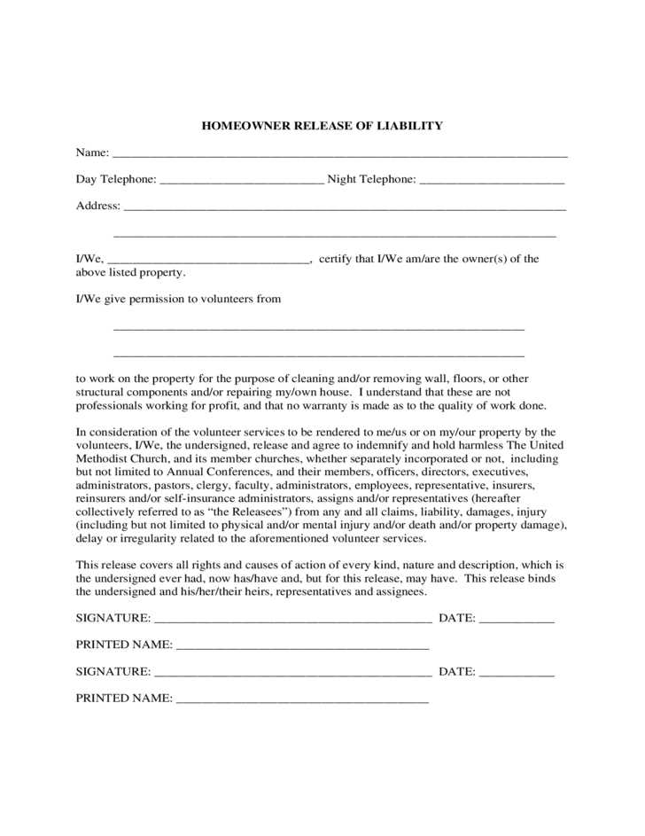 Homeowner Liability Waiver Sample Form Free Download