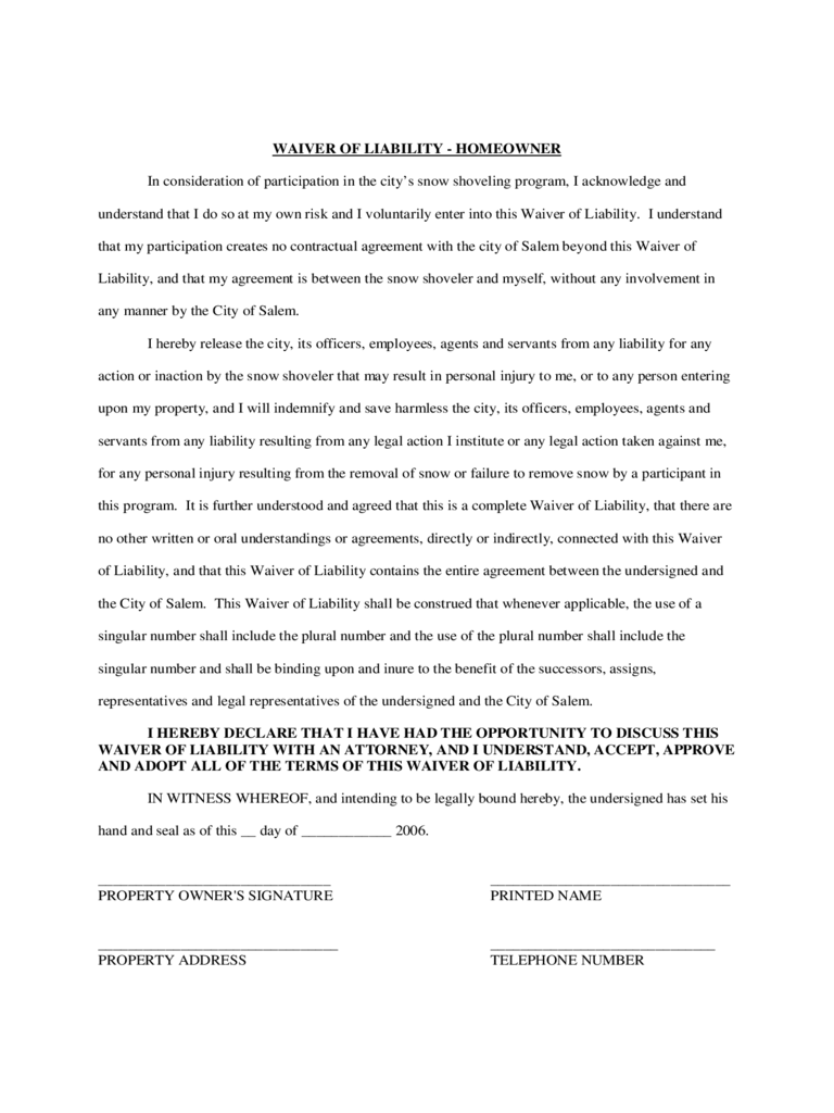homeowner liability waiver form