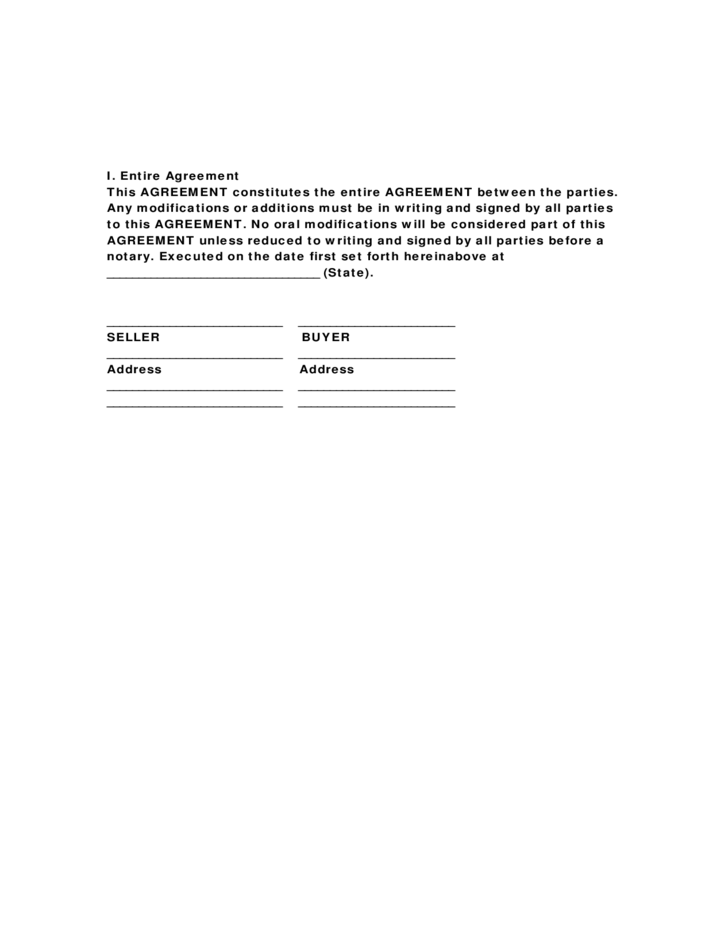 Horse Bill of Sale Form Sample