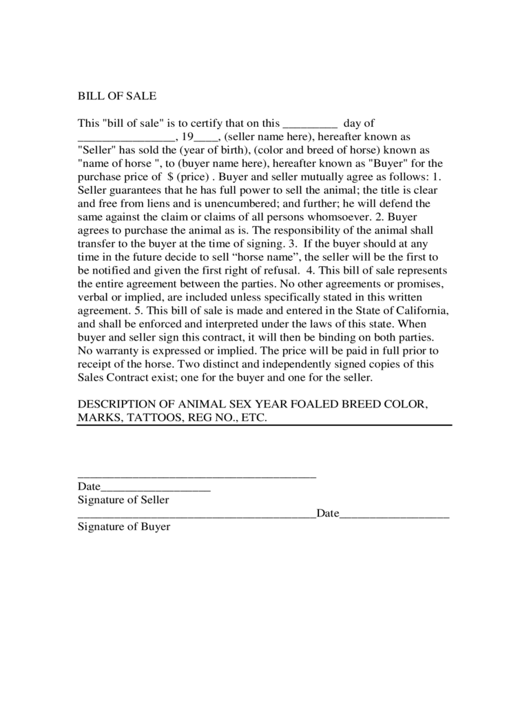 Horse Bill Of Sale Form   California  Free Horse Bill Of Sale