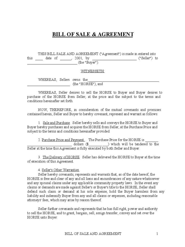 Horse Bill of Sale and Agreement - Kentucky