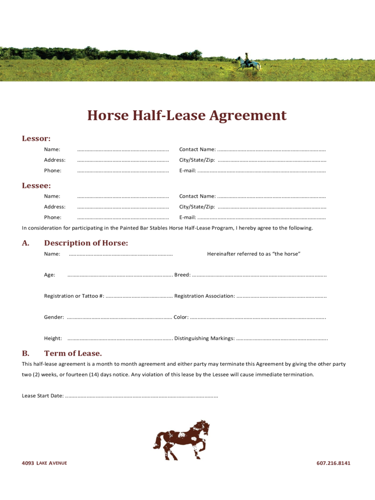 Horse Lease Agreement 6 Free Templates in PDF Word Excel Download – Sample Horse Lease Agreement Template