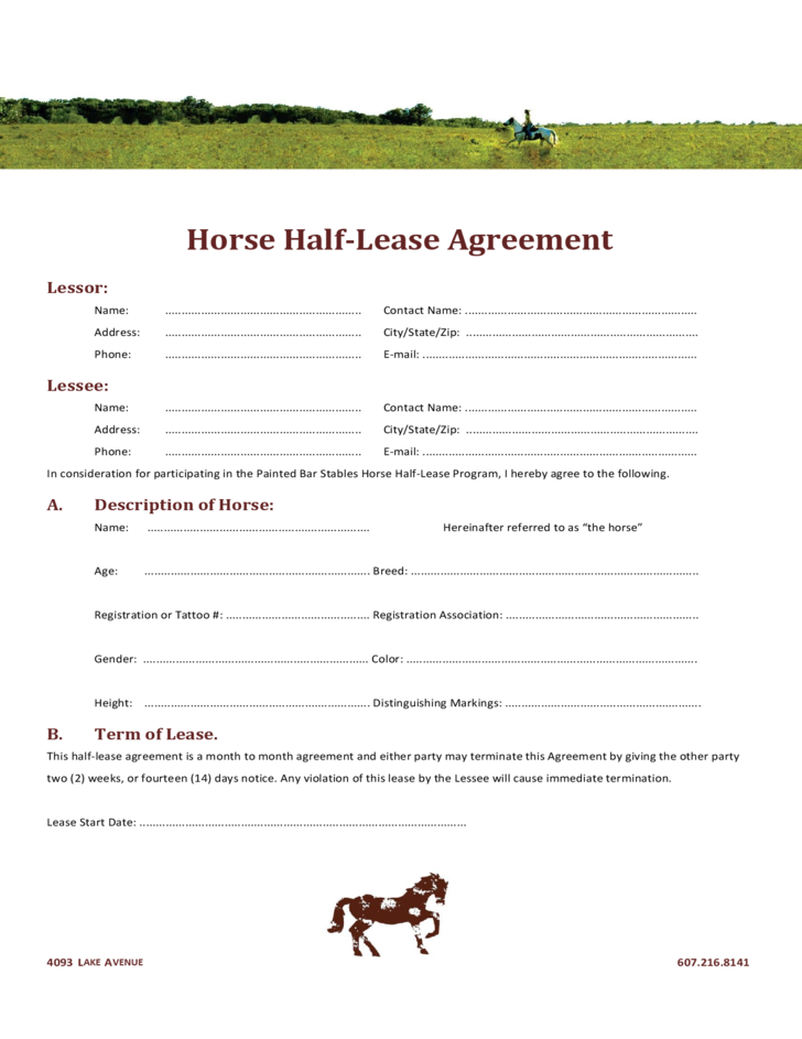 1 Horse Half Lease Agreement