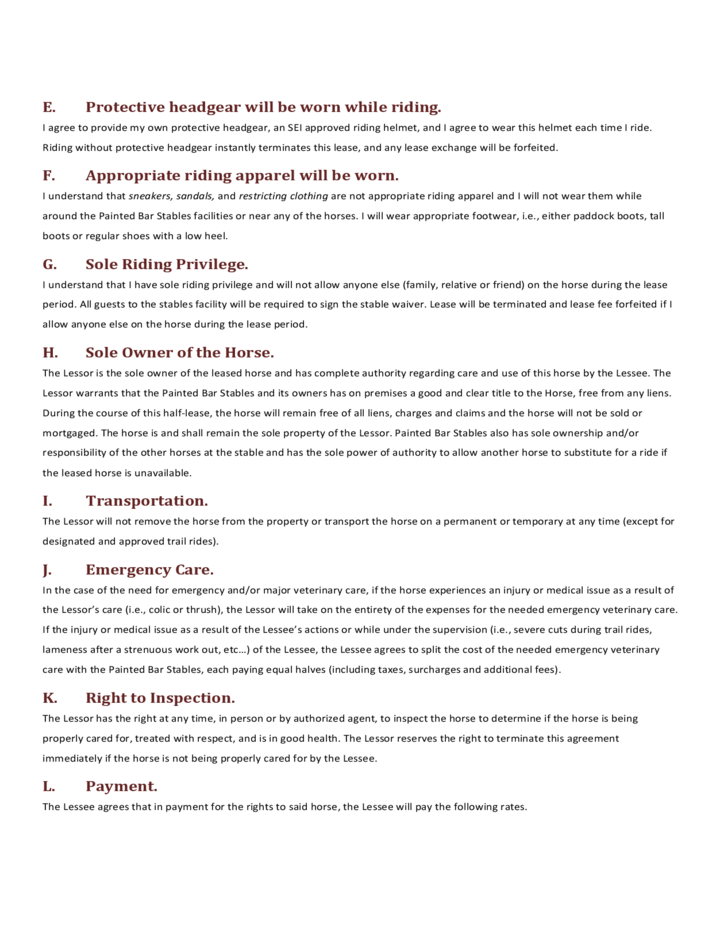 Horse HalfLease Agreement Free Download – Horse Lease Agreements