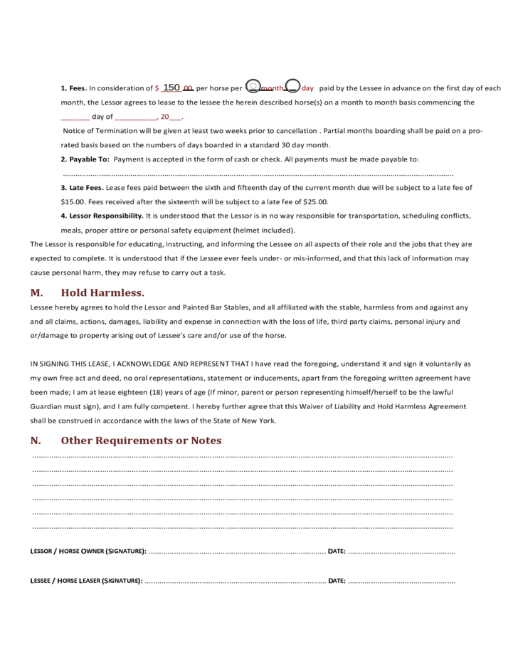 Horse Half Lease Agreement Free Download