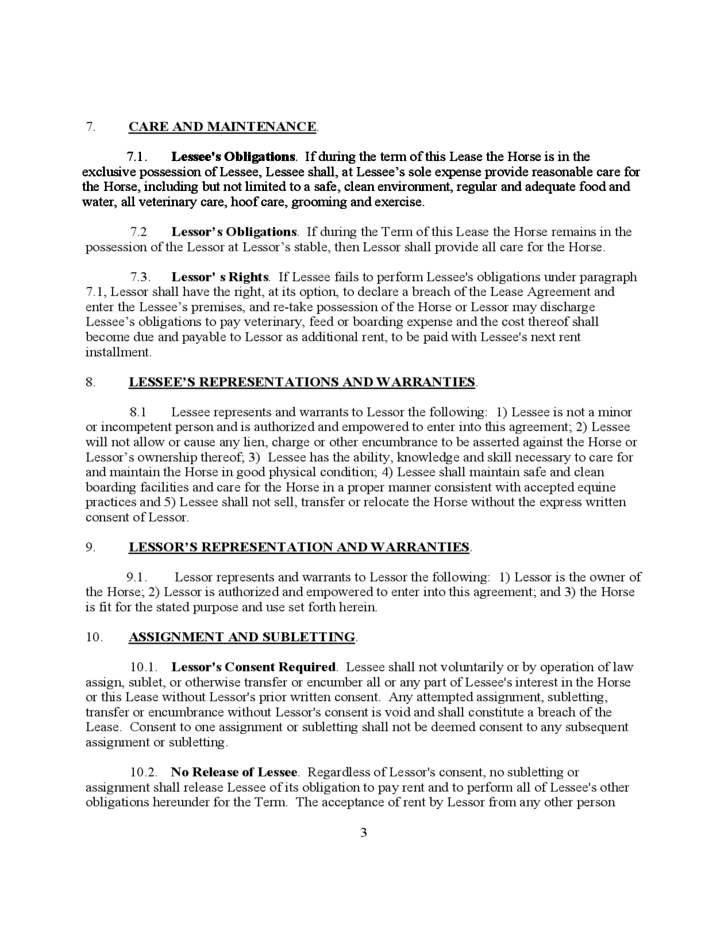 Part Time Horse Lease Agreement Free Download
