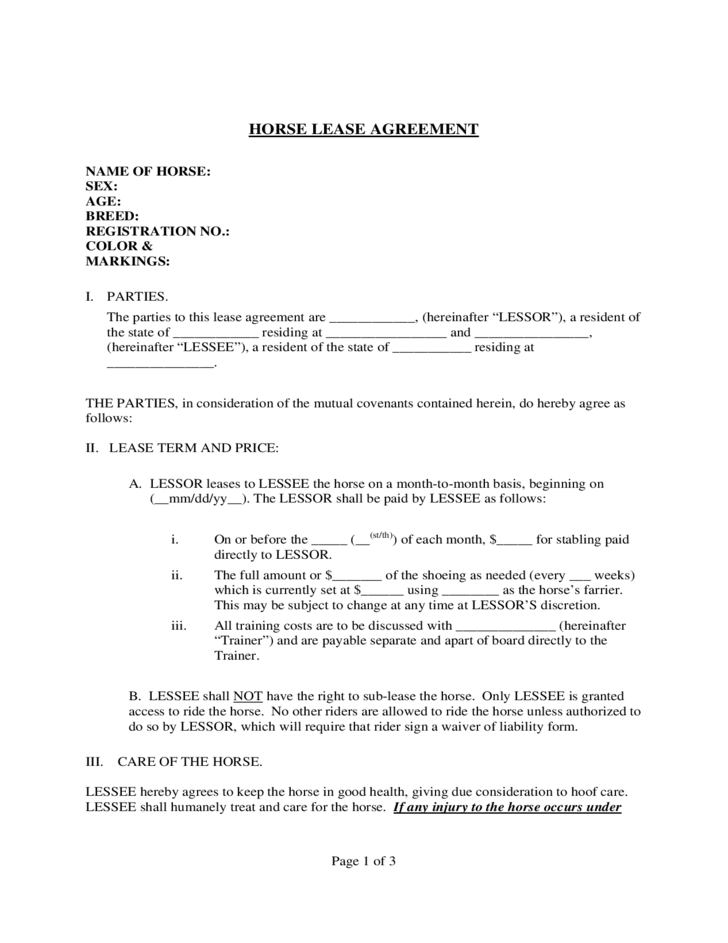 Horse Lease Agreement Template Free Download