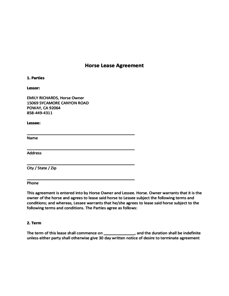 Blank Horse Lease Agreement Free Download