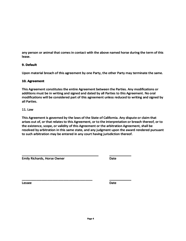 Blank Horse Lease Agreement Free Download – Horse Lease Agreements