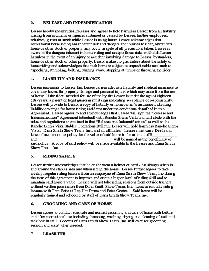 Sample Horse Lease Agreement Free Download