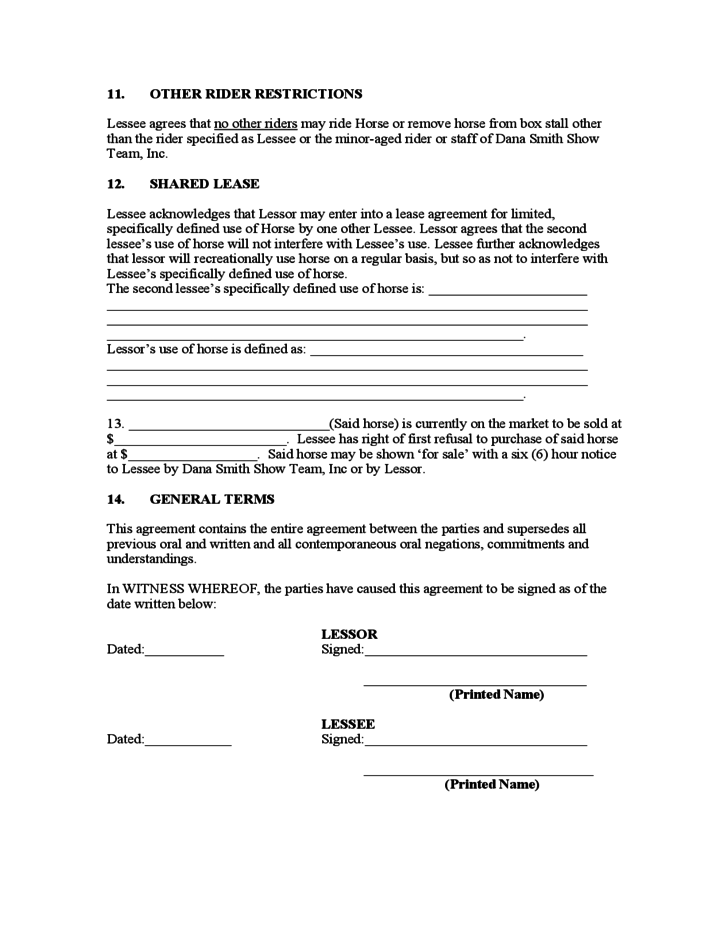 Sample Horse Lease Agreement Free Download – Horse Lease Agreements