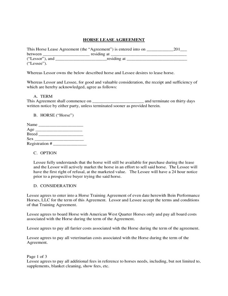 Standard Horse Lease Agreement Free Download – Horse Lease Agreements