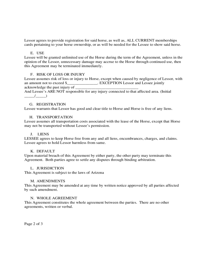 Standard Horse Lease Agreement Free Download