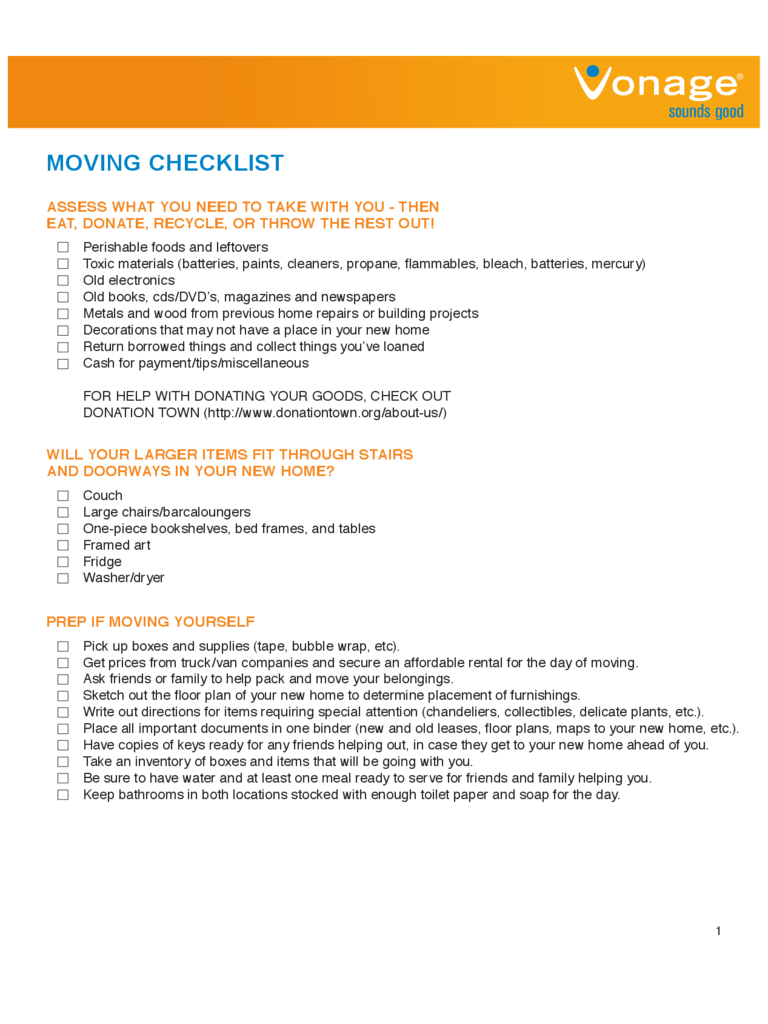 House Moving Checklist Template 5 Free Templates in PDF Word – Sample Moving Checklist