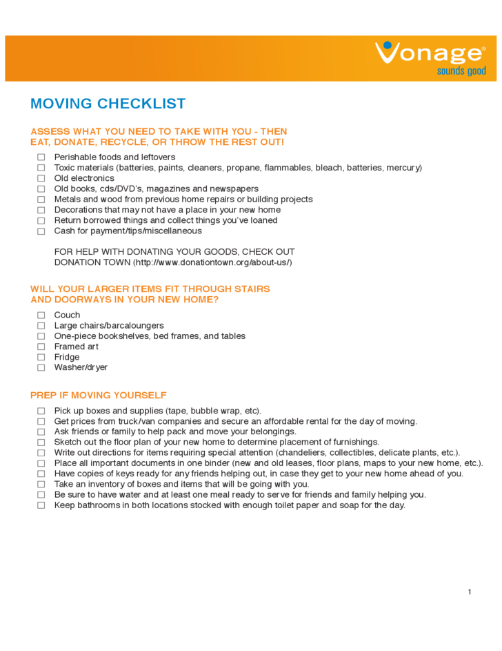 House moving checklist sample free download for Moving to a new home checklist