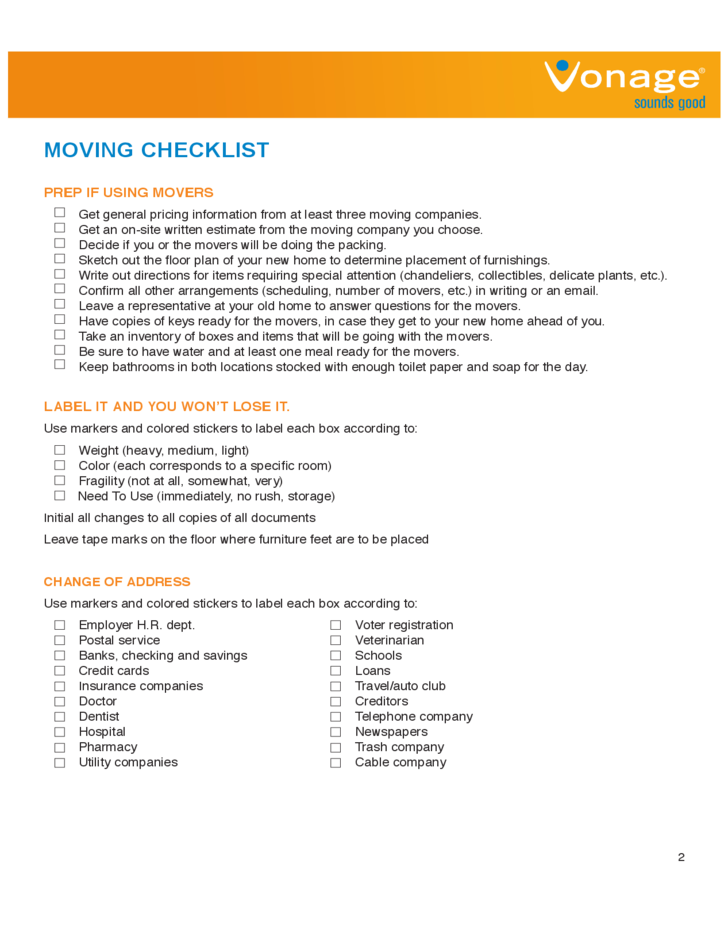 House Moving Checklist Sample