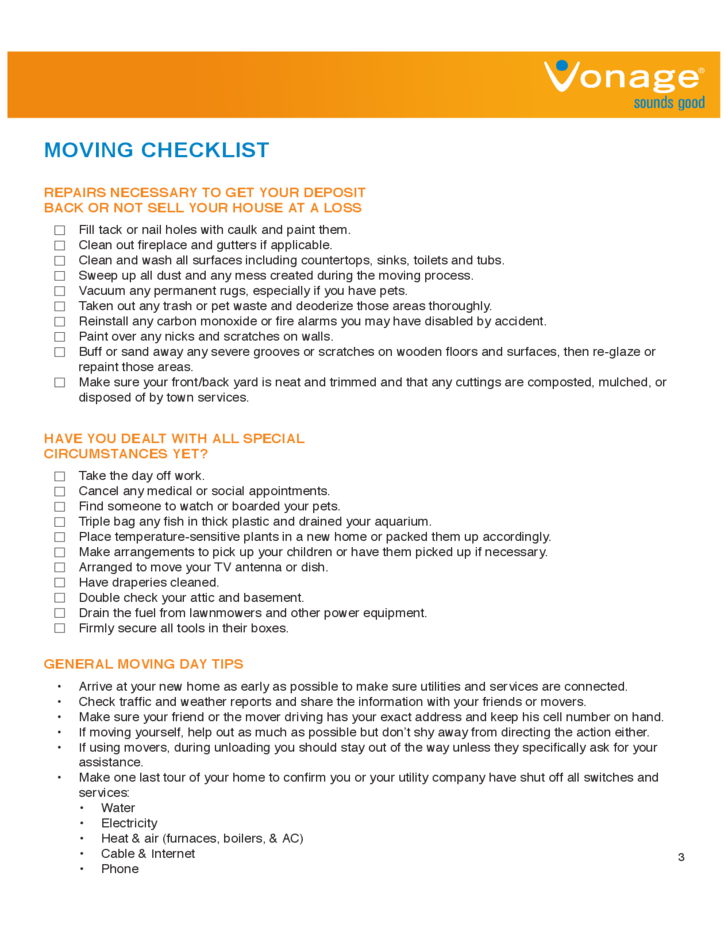 House Moving Checklist Sample Free Download – Sample Moving Checklist