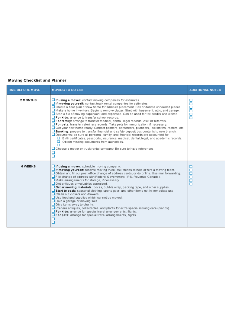 Moving Checklist and Planner
