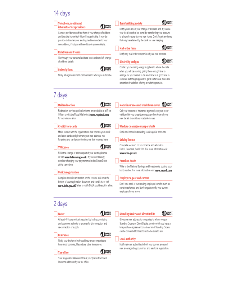 Moving House Checklist Template Free Download