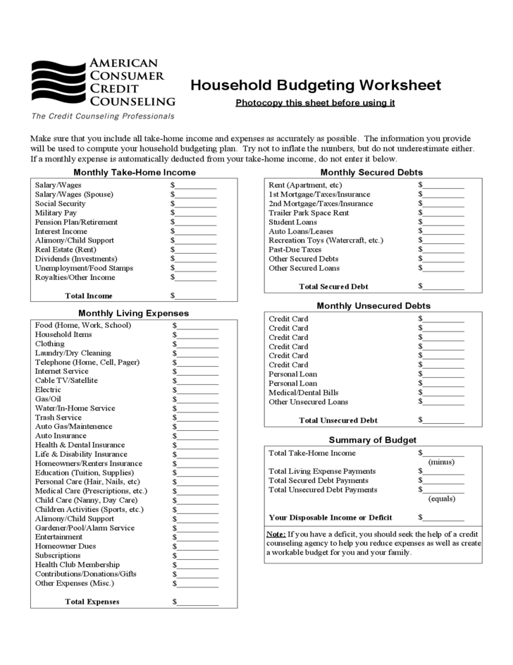 Household Budgeting Worksheet