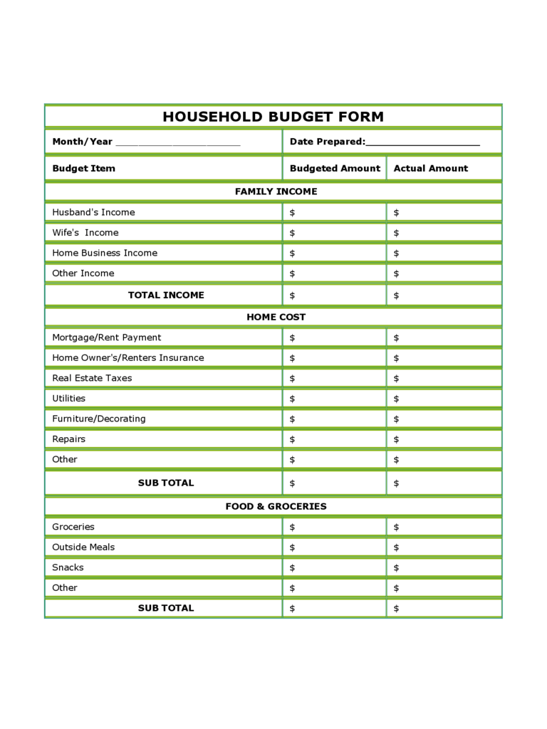 Blank Household Budget Form