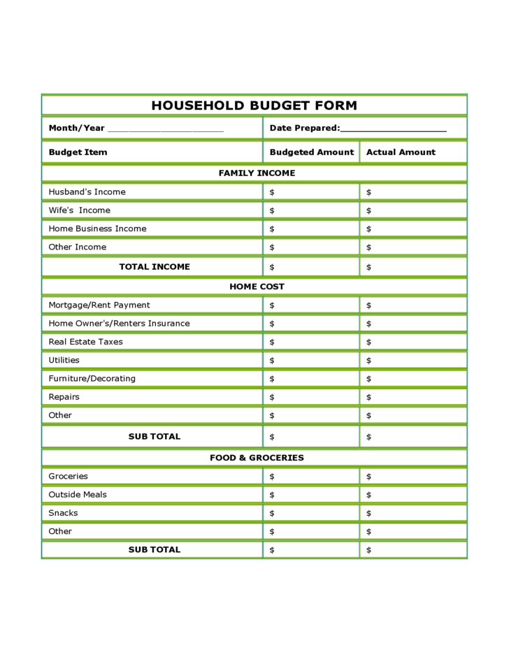 Pics Photos - Blank Budget Forms Templates