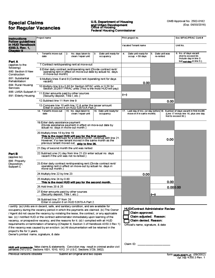 Special Claims for Regular Vacancies Hud Form