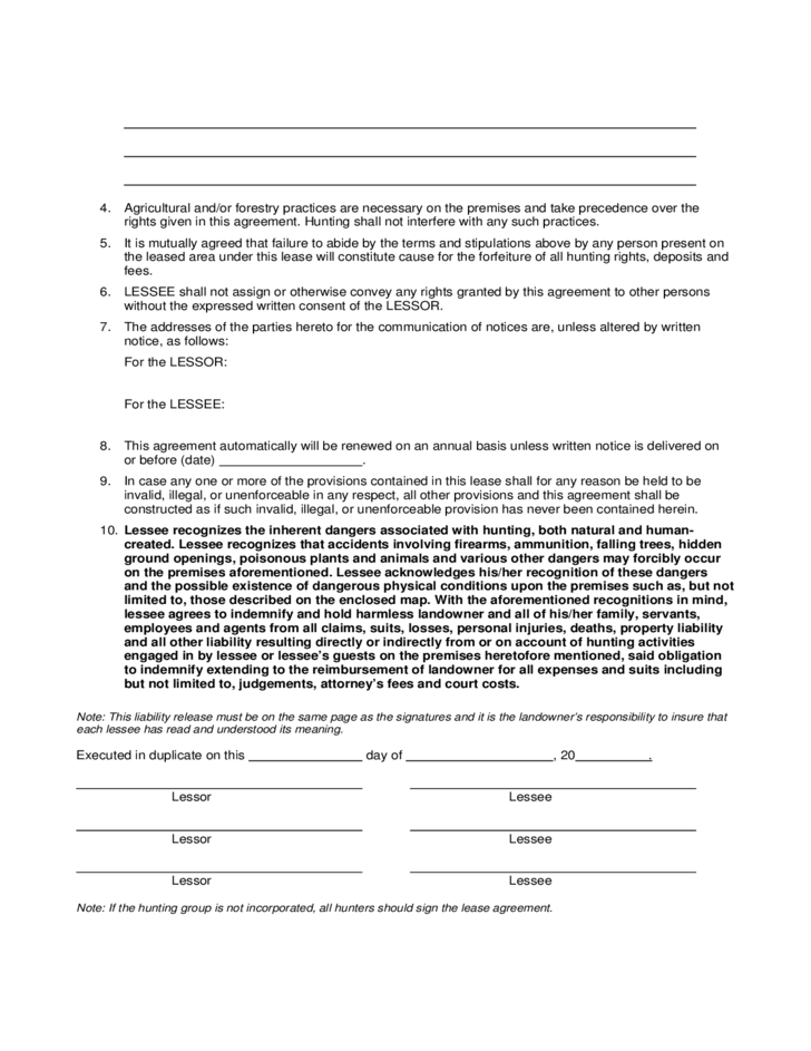 Hunting Rental and Lease Sample Form Free Download – Hunting Rental and Lease Form