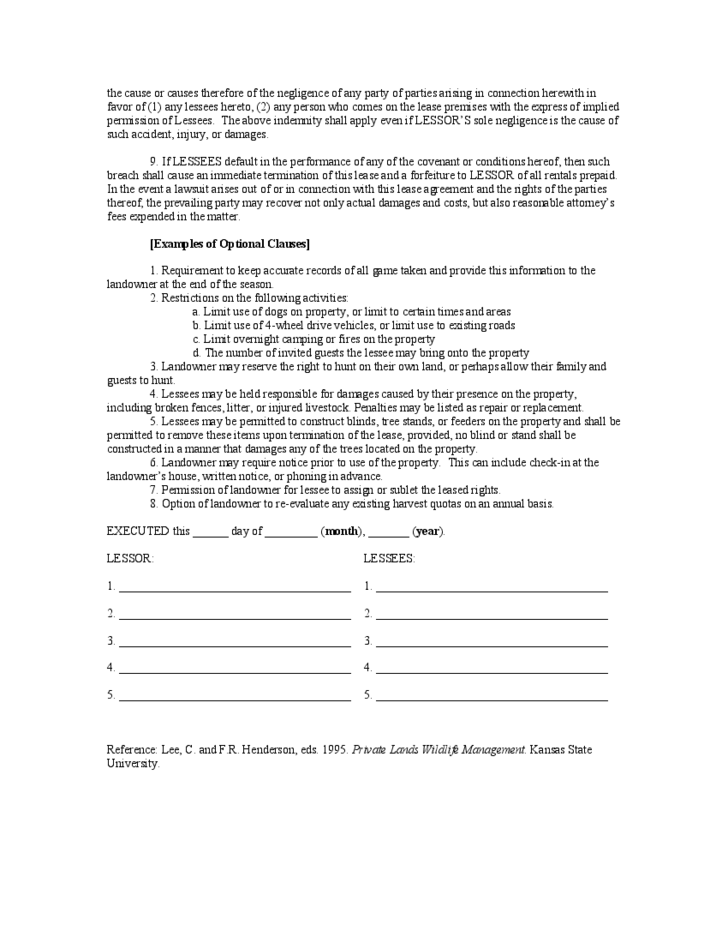 Hunting Rental and Lease Form Kansas Free Download – Hunting Rental and Lease Form