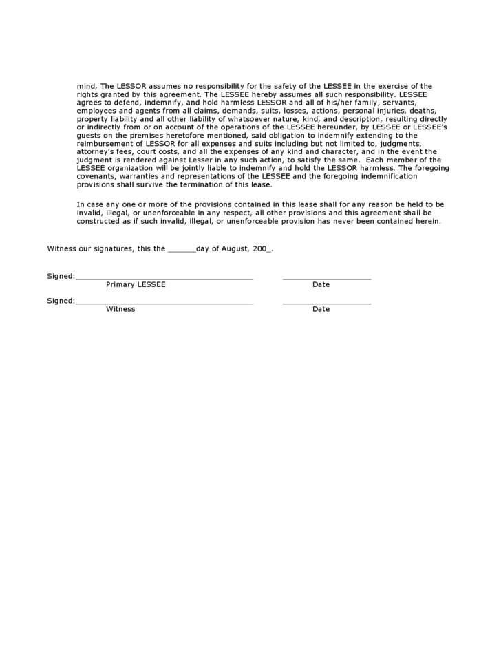 Hunting Rental and Lease Form Mississippi Free Download – Hunting Rental and Lease Form
