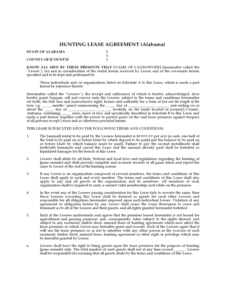 Hunting Rental and Lease Form 6 Free Templates in PDF Word – Hunting Rental and Lease Form