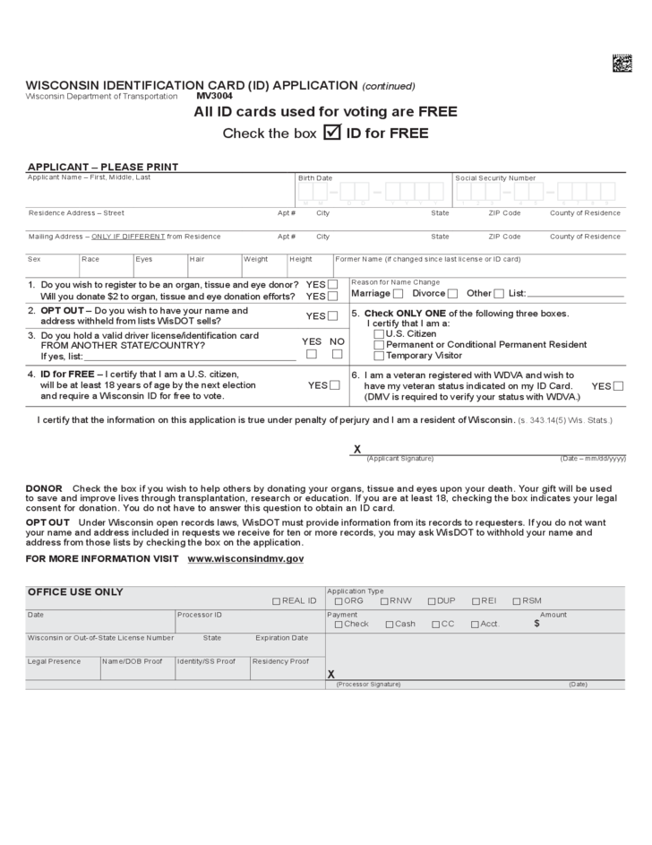 Id Card Application Form - Wisconsin