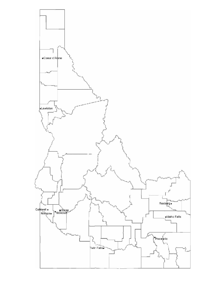 Map of Idaho Cities with City Names