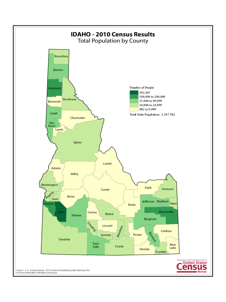 Idaho County Population Map
