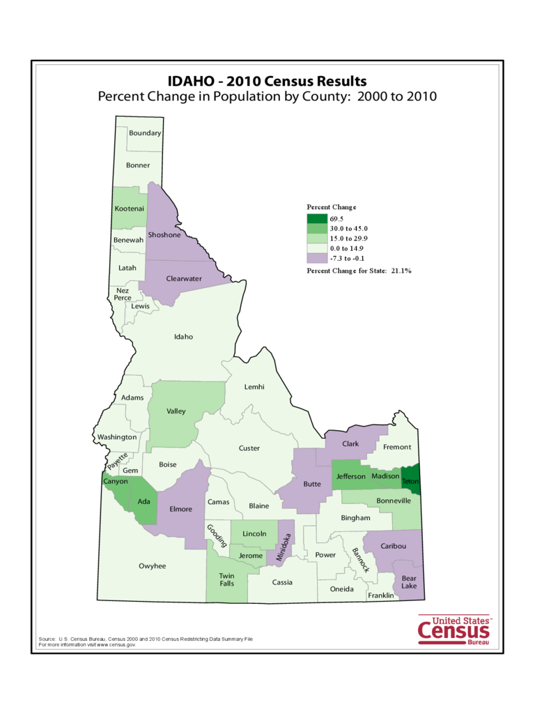 Idaho County Population Change Map